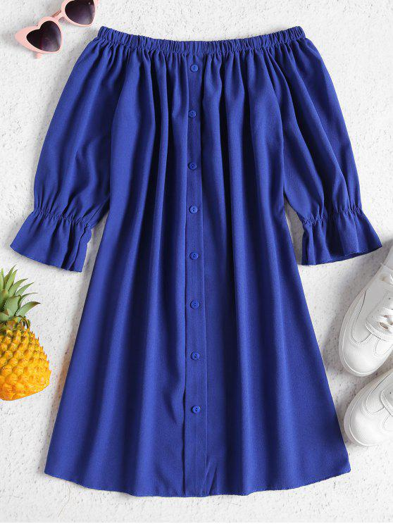 ladies Buttons Off Shoulder Casual Dress - BLUEBERRY BLUE XL