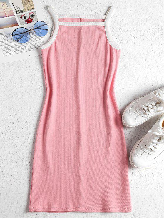lady Contrasting Knitted Bodycon Dress - LIGHT PINK L