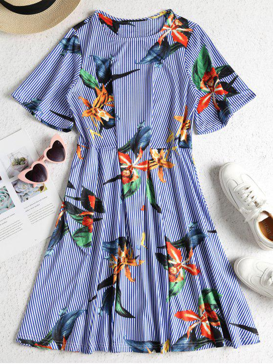 shop Floral Stripe Print Tie Side A Line Dress - BLUE L