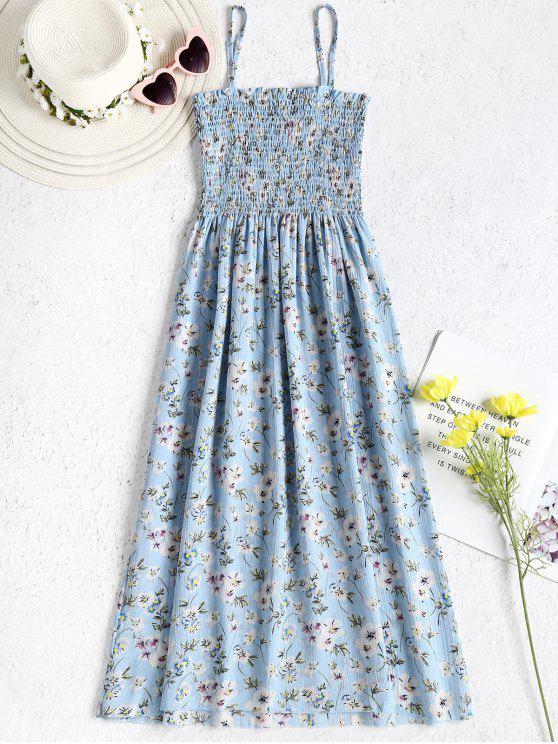 فستان منقوش بالزهور - الضوء الأزرق مقاس واحد