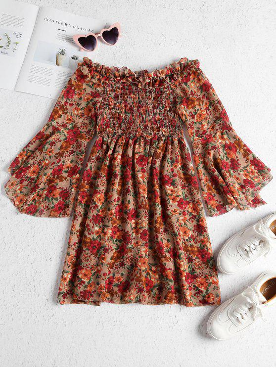 trendy Floral Chiffon Smocked Mini Beach Dress - MULTI ONE SIZE