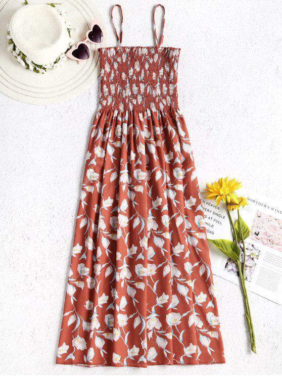 fancy Floral Smocked Cami Dress - ORANGE SALMON ONE SIZE