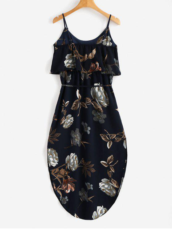 women Overlay Slit Floral Dress - DARK SLATE BLUE L