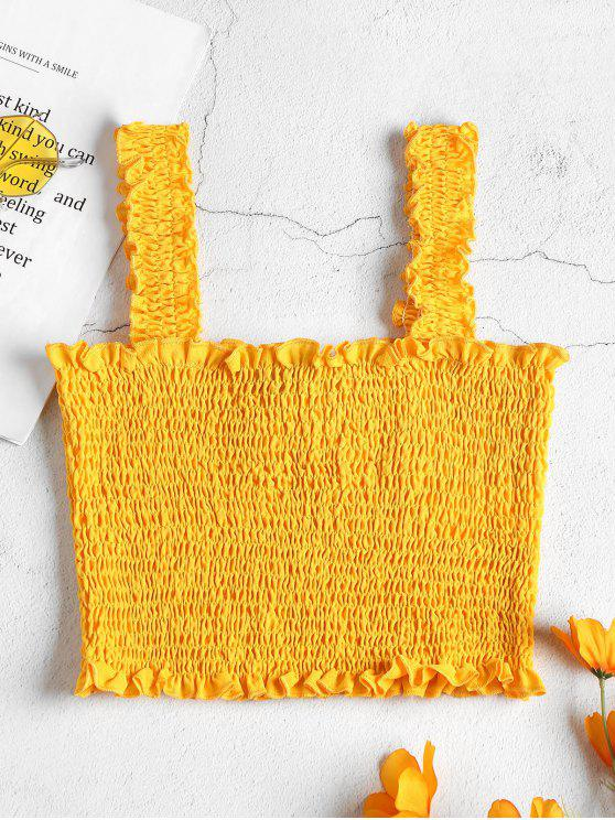 affordable Smocked Crop Tank Top - BEE YELLOW L
