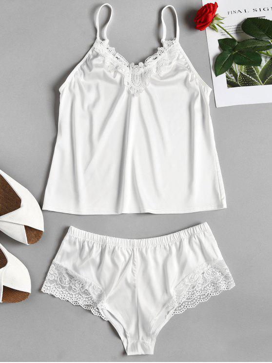 Cami Top e Tap Shorts Satin Pijama Set - Branco M