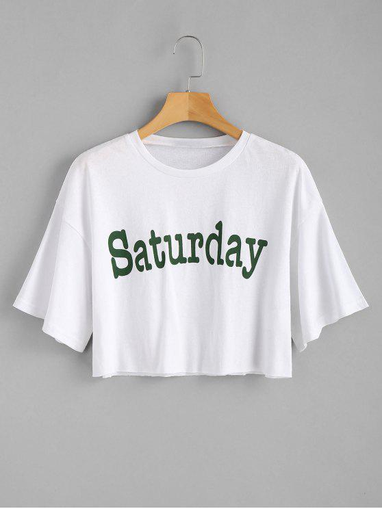 lady Crop Saturday Tee - WHITE L