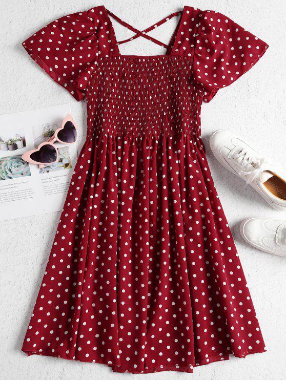 trendy Puff Sleeve Polka Dot Smocked Midi Dress - RED WINE ONE SIZE