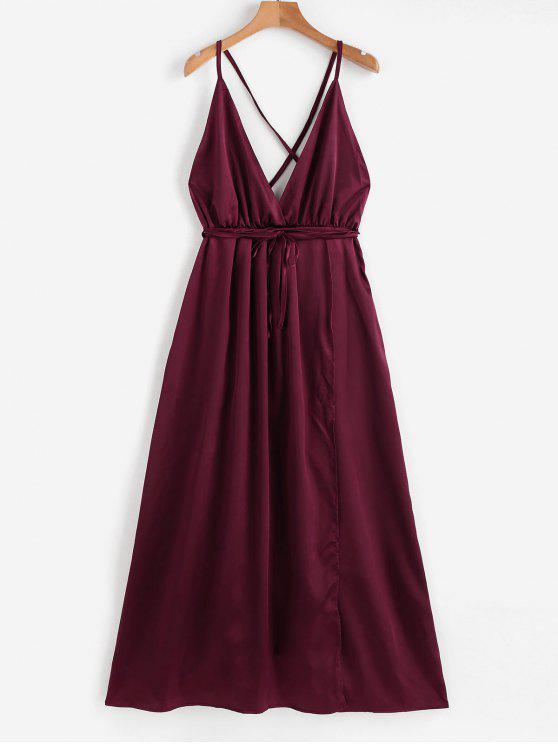 trendy Satin Criss Cross Maxi Dress - RED WINE M
