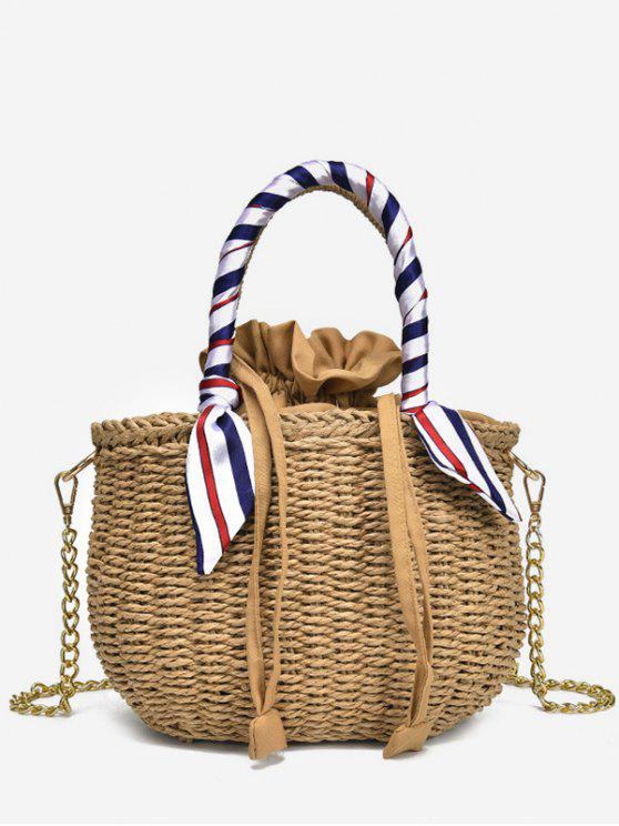 online Metal Chain Scarf Leisure Vacation Straw Tote Bag - LIGHT KHAKI