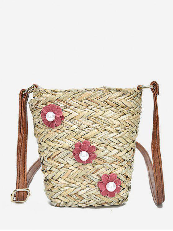 fancy Straw Casual Outdoor Trip Flower Crossbody Bag - RUBY RED