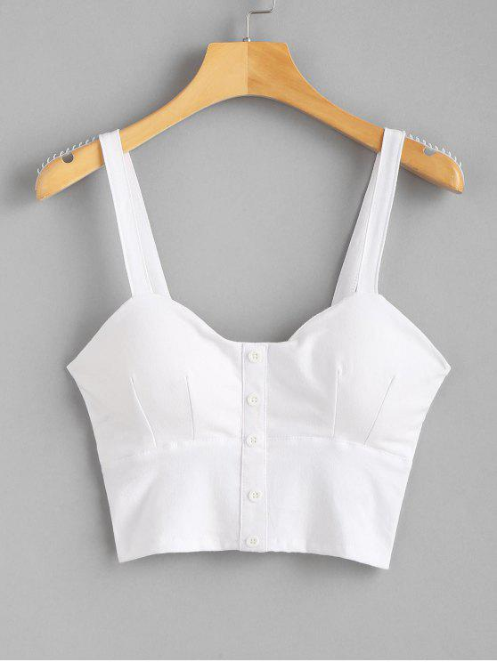 shops Smocked Buttoned Tank Top - WHITE L