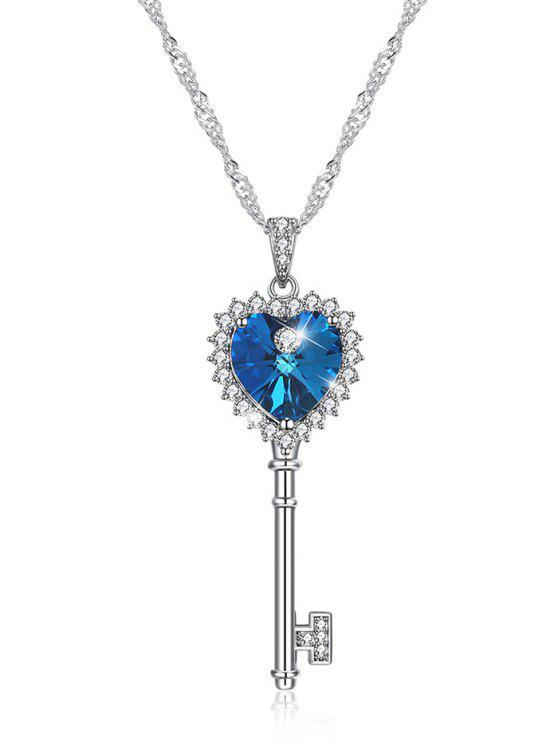Rhinestone corazón amor clave aniversario colgante collar - Azul Océano