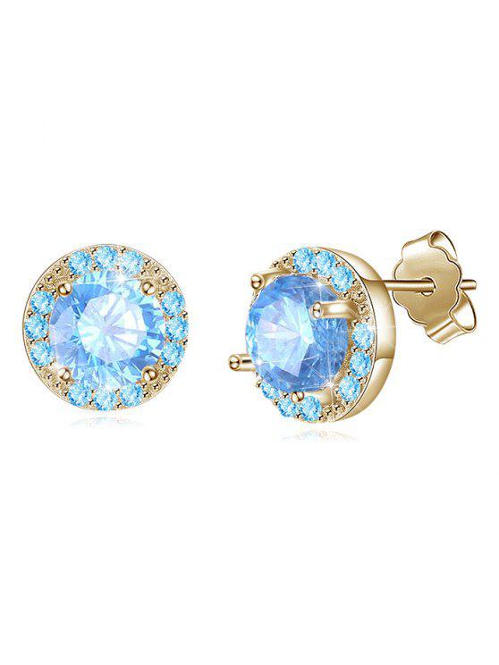 Pendientes con incrustaciones de diamantes de imitación únicos del banquete de boda - Celeste Ligero