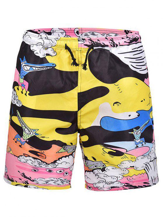 مجلس كارتون مطبوعة ملابس السباحة - أصفر فاقع L