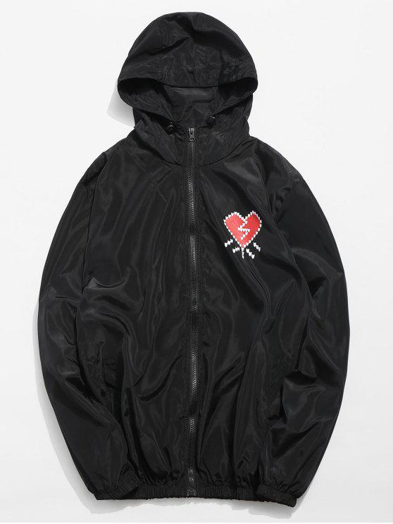 online Heart Printed Waterproof Lightweight Jacket - BLACK L