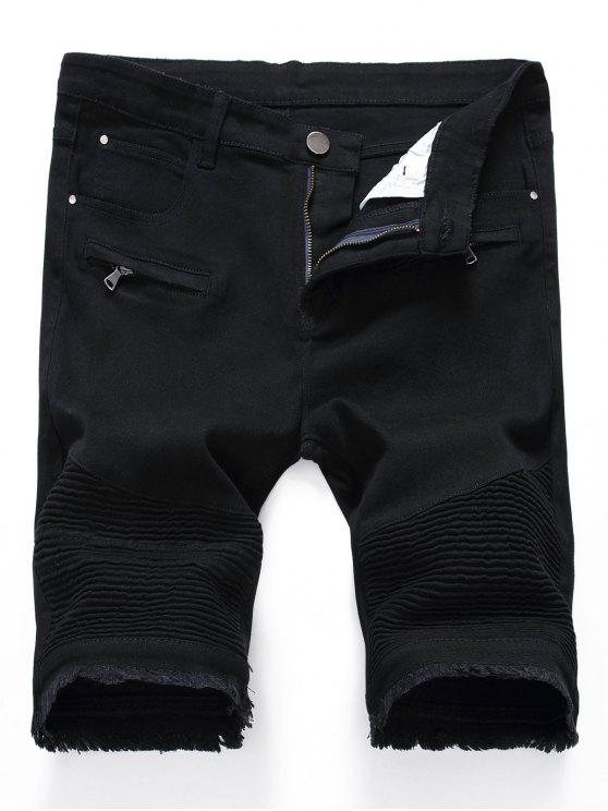 womens Pleated Zippers Frayed Hem Denim Shorts - BLACK 30