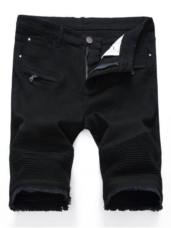 Plissee Reißverschlüsse Ausgefranste Saum Denim Shorts - Schwarz 36