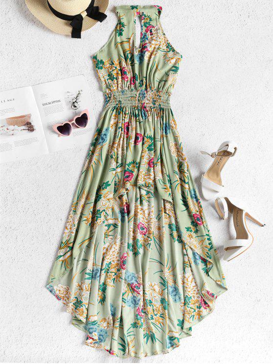 women Smocked Waist Floral High Low Dress - FROG GREEN XL