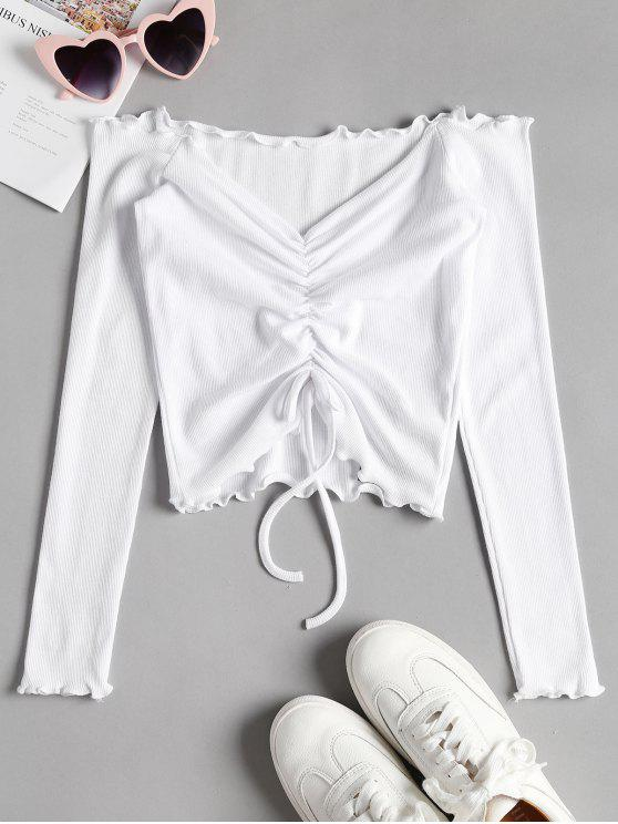 latest Gathered Off Shoulder Top - WHITE M