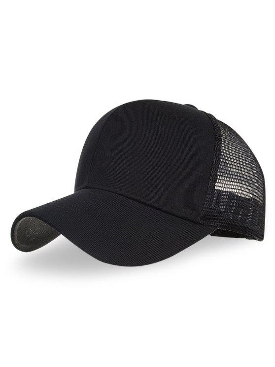 latest Outdoor Solid Color Mesh Hunting Hat - BLACK