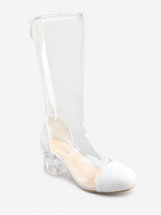 best PVC Lucid Chunky Heel Round Toe Chic Mid Calf Boots - WHITE 37