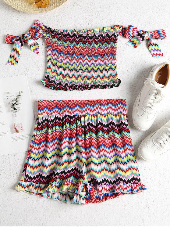trendy Zig Zag Knotted Smocked Shorts Set - MULTI S