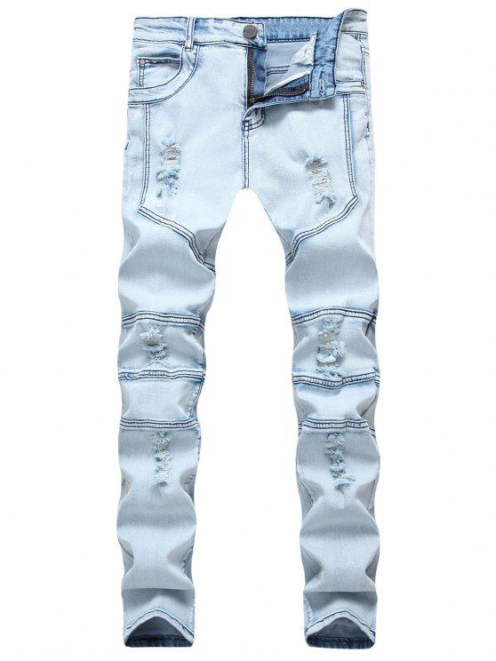 women Spliced Design Ripped Slim Fit Biker Jeans - DENIM BLUE 36