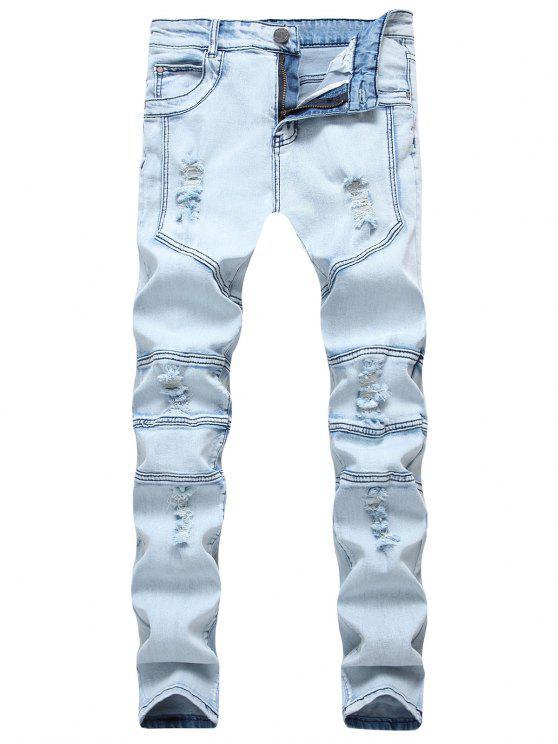 Spliced Design Ripped Slim Fit Biker Jeans - Azul Denim 38