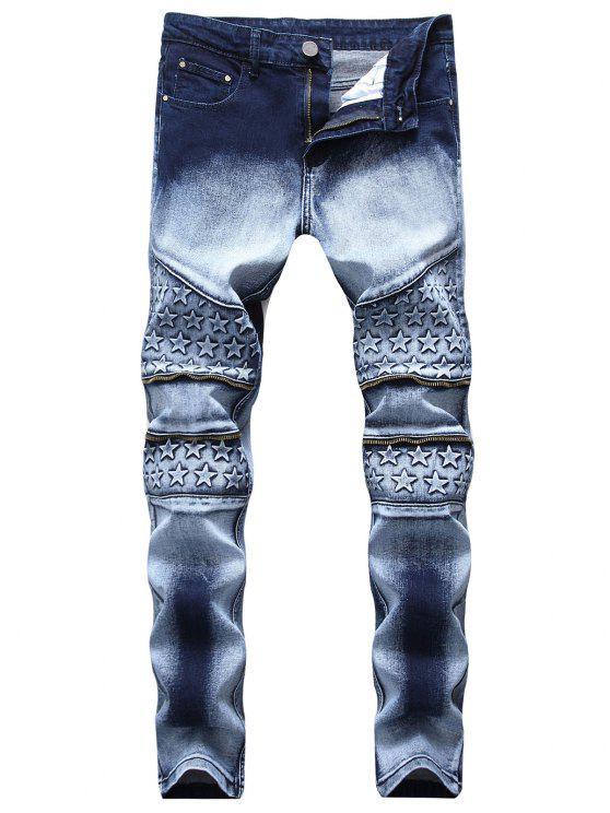 Knee Stars Zipper Biker Skinny Jeans - Azul de Pizarra Oscuro 32