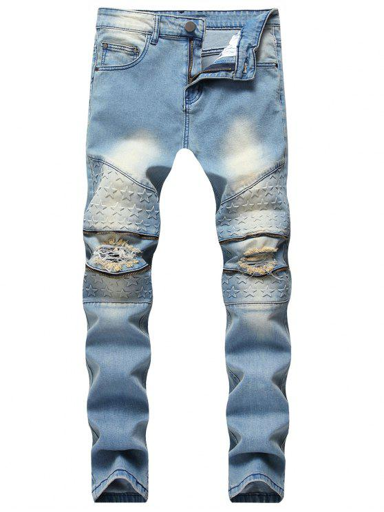 trendy Five Stars Zippers Washed Ripped Jeans - JEANS BLUE 34