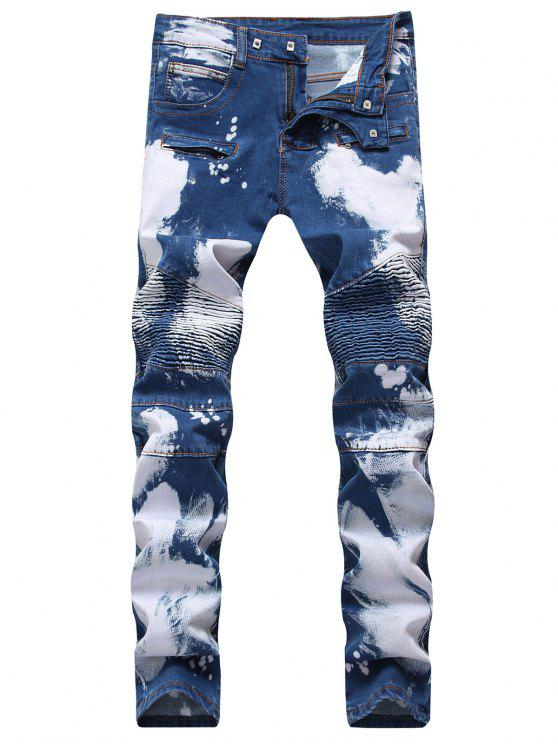ladies Hook Button Paint Splatter Print Biker Jeans - DEEP BLUE 42