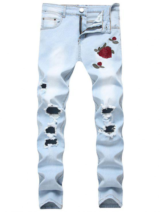 hot Flowers Embroidery Washed Hole Jeans - JEANS BLUE 38