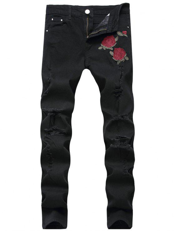 chic Flowers Embroidery Ripped Jeans - BLACK 40