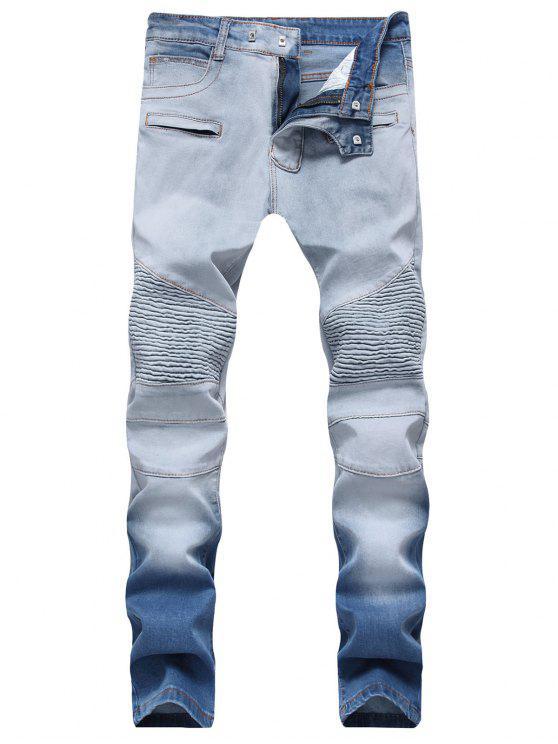 fashion Hook Button Zippers Biker Jeans - JEANS BLUE 40