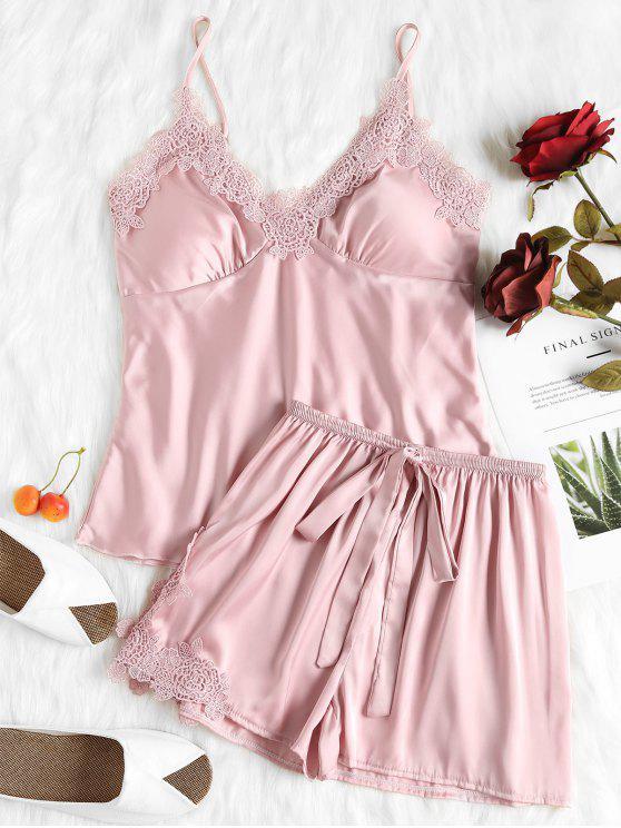 Conjunto de pijama satinado Tops y Shorts Cami acolchado - Rosa Claro M