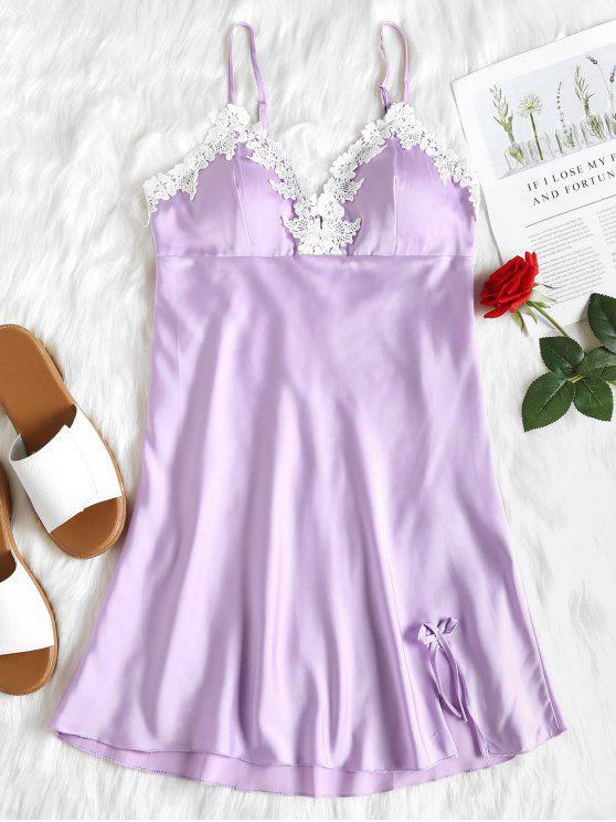 Vestido camisero de encaje con satén Babydoll - Color de malva L