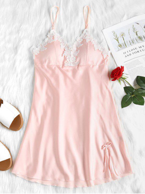 Laço de cetim Babydoll Nightgown vestido de deslizamento - Rosa Claro L