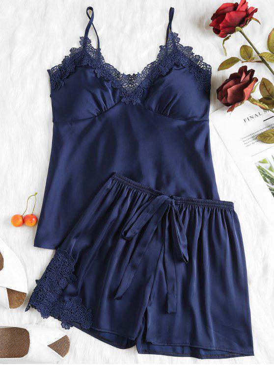 hot Padded Cami Top and Shorts Satin Pajama Set - CADETBLUE M
