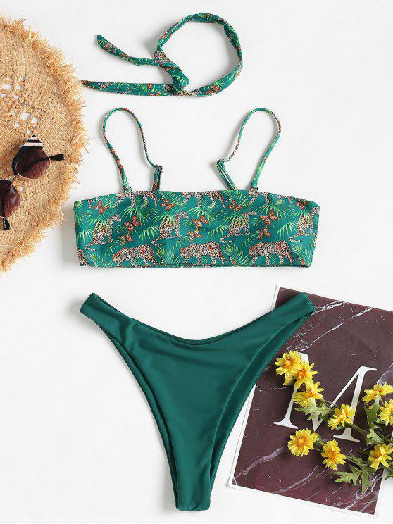 outfits Leopard Tube High Cut Bikini - JUNGLE GREEN S