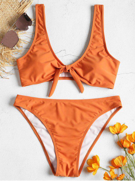 hot High Leg Tie Front Bikini Set - PAPAYA ORANGE S