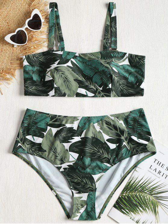 outfits Plus Size Palm Leaves Bikini Set - FOREST GREEN 3X