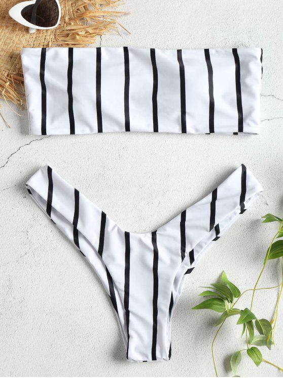 best High Cut Bandeau Stripes Bikini Set - WHITE L