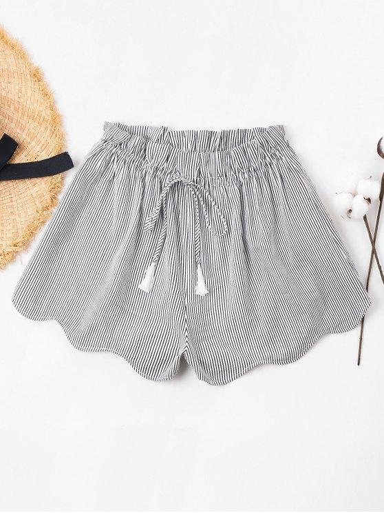 fancy Scalloped Hem Striped Shorts - BLACK S