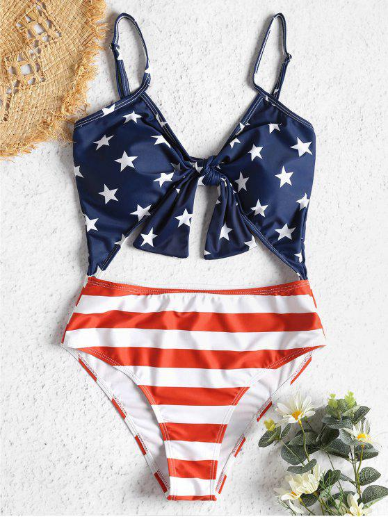 unique American Flag Cut Out Knotted Swimsuit - MULTI M