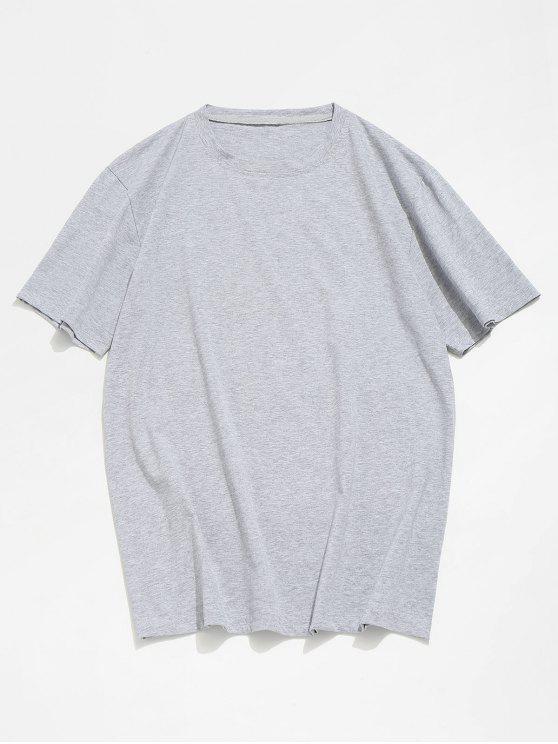 trendy Basic Crew Neck T-Shirt - GRAY S