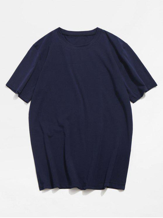 fashion Basic Crew Neck T-Shirt - DEEP BLUE M