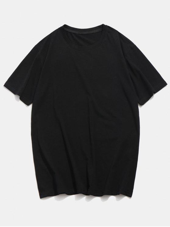 fancy Basic Crew Neck T-Shirt - BLACK S