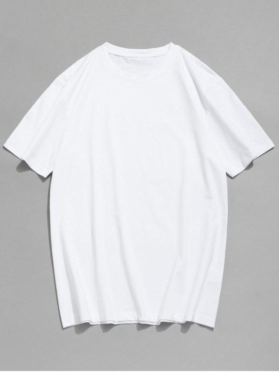 sale Basic Crew Neck T-Shirt - WHITE XL
