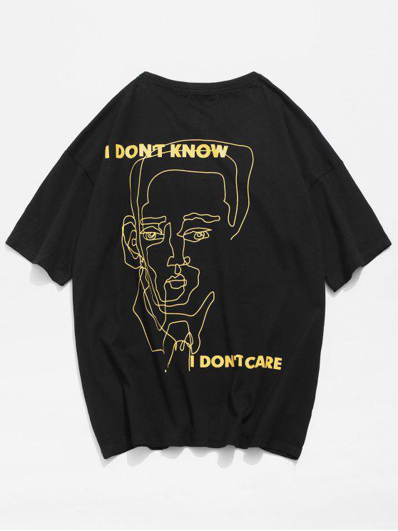 Kontur Gesicht Zeichnung Buchstabe Druck T-Shirt - Schwarz L