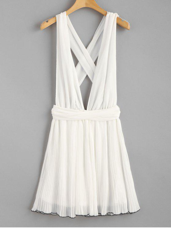 womens Self Tie Pleated Chiffon Plunge Sundress - WHITE M